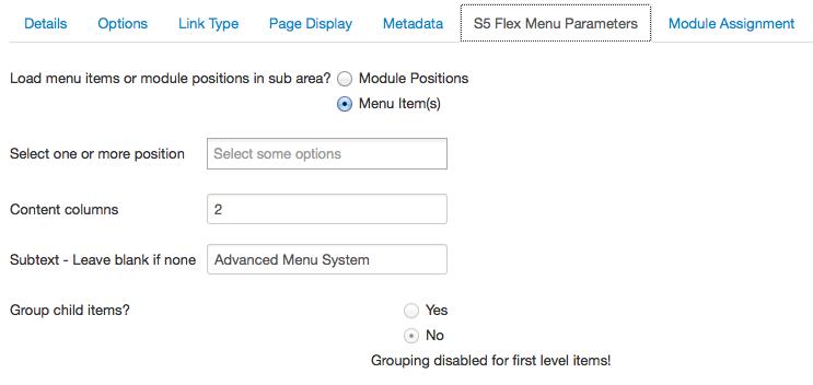S5 Flex Menu Parameters