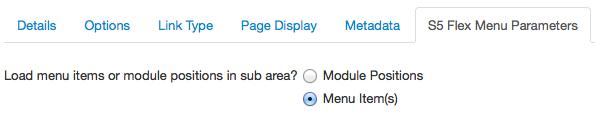 Parameters Flex menu